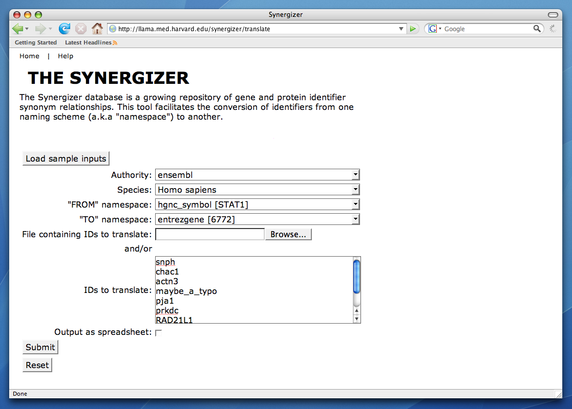 The Synergizer Biological Id Mapping Tool